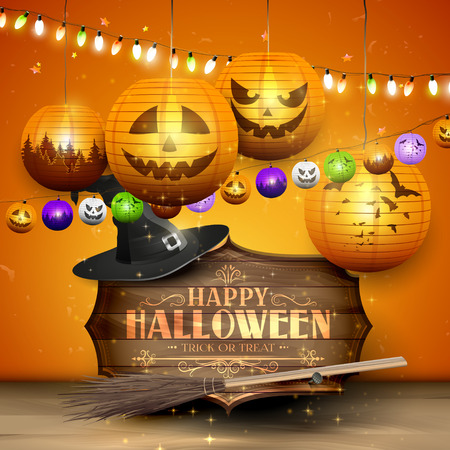wooden hat: Happy Halloween greeting card with wooden sign, old hat, broom paper lanterns on orange background