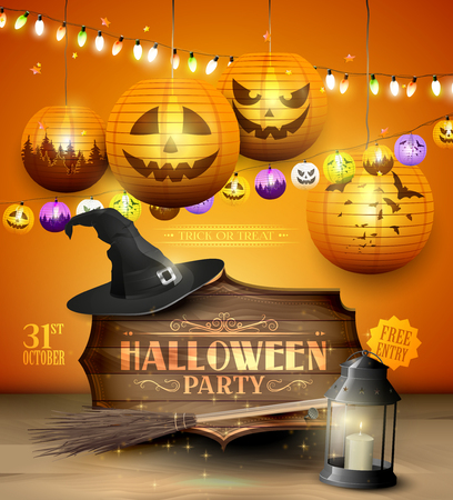 wooden hat: Modern Halloween party flyer with wooden sign, old hat and colorful paper lanterns and lights on orange background. Illustration
