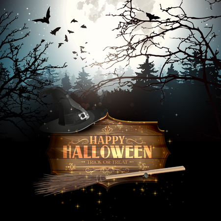 Halloween creepy forest with bats, full Moon and wooden sign with calligraphic inscription