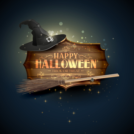 Happy Halloween modern greeting card with wooden sign with calligraphic inscription and old hat on blue background