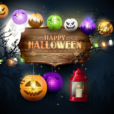 Happy Halloween modern greeting card. Wooden sign with calligraphic inscription,paper lanterns and lights in the woods