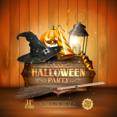 wooden hat: Modern Halloween party flyer with old sign,black lantern, old hat, pumpkin, and party hat on wooden background. Illustration