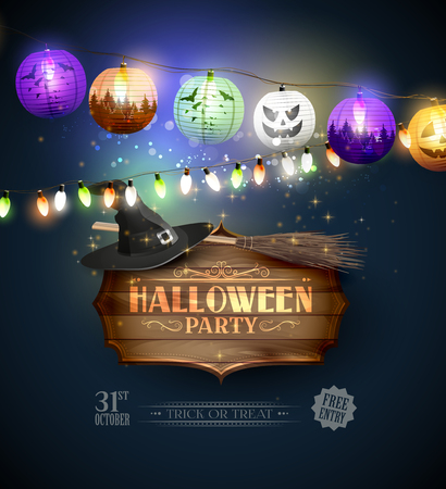 blue party: Modern Halloween party flyer with wooden sign and colorful paper lanterns and lights on blue background Illustration