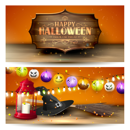 red lantern: Halloween horizontal banners with red lantern, old hat, broom and paper lanterns on orange background