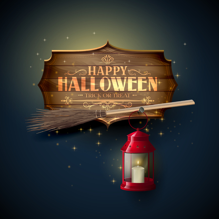 Happy Halloween modern greeting card. Wooden sign with calligraphic inscription ,broom and red lantern on blue background