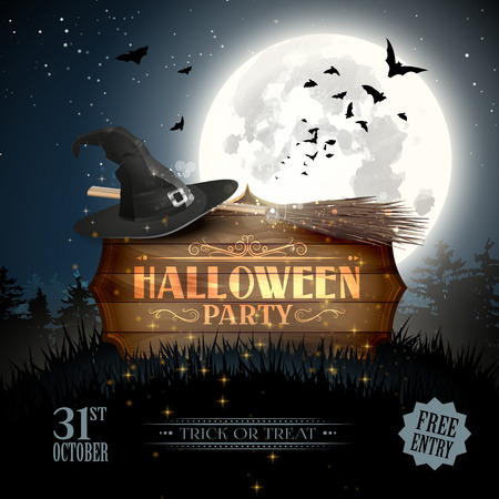 wooden hat: Halloween party flyer with wooden sign, broom and old hat in the woods Illustration