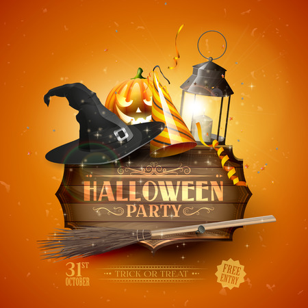 Modern Halloween party flyer with old sign,black lantern, old hat, pumpkin, and party hat on orange background. Illustration