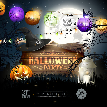 wooden hat: Halloween party flyer with wooden sign, old hat and colorful paper lights in the woods Illustration