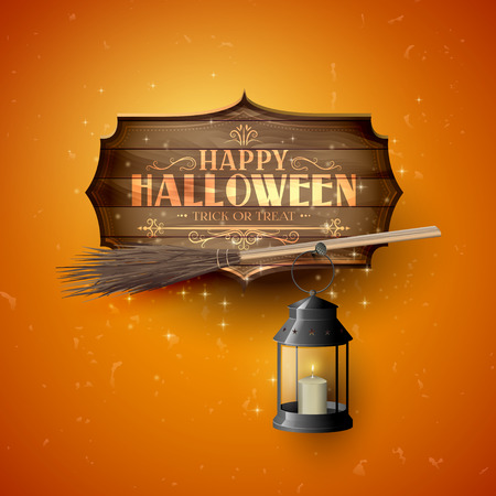 Happy Halloween modern greeting card with wooden sign and calligraphic inscription, broom and black lantern on orange background Illustration