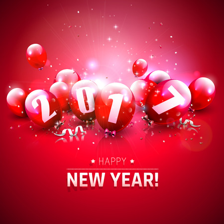 Happy New Year 2017 - Greeting card with red balloons Illustration