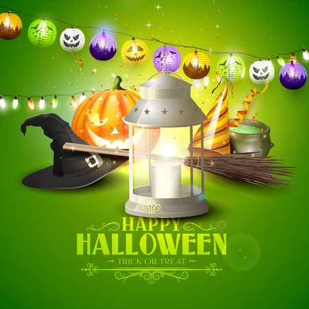 Happy Halloween greeting card with lantern, old hat, pumpkin, broom and party hat on green background Illustration