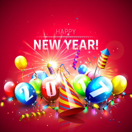party hat: Happy New Year 2017 - Greeting card with colorful balloons,lights and fireworks on red background