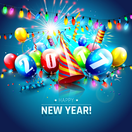 Happy New Year 2017 - Greeting card with colorful balloons,lights and fireworks on blue background