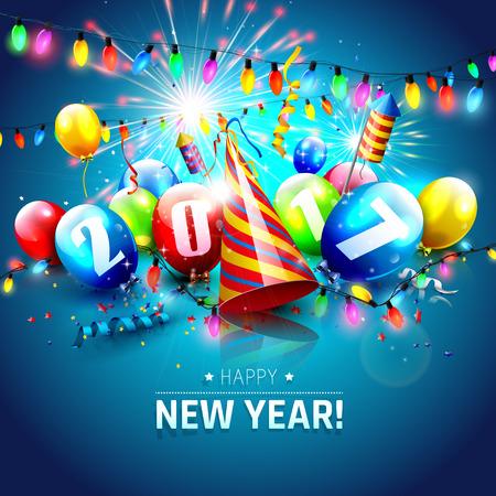 Guten Rutsch ins Neue Jahr 2017 - Grußkarte mit bunten Luftballons, Licht und Feuerwerk auf blauem Hintergrund Standard-Bild - 61613739