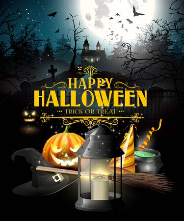 old church: Halloween greeting card with black lantern, lights and wooden sign in front of old church