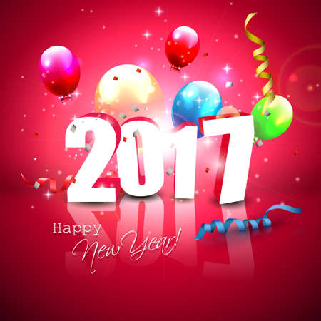 sylvester: Happy New Year 2017 - blue greeting card with 3D numbers