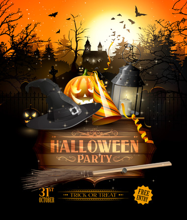 Modern Halloween party flyer with black lantern, lights and wooden sign in front of old church