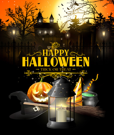 old church: Halloween greeting card with black lantern, hat, brom and pumpkin in front of old church