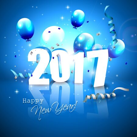 background calendar: Happy New Year 2017 - blue greeting card with 3D numbers