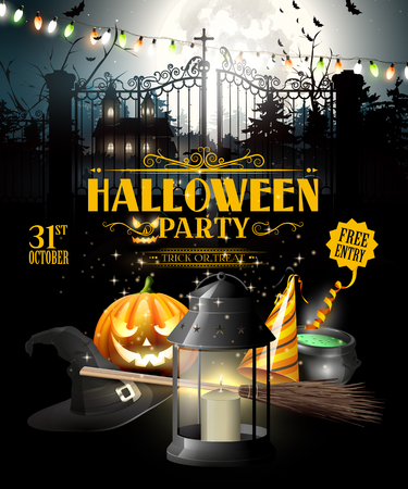 old church: Modern Halloween party flyer with black lantern, lights and pumpkin in front of old church