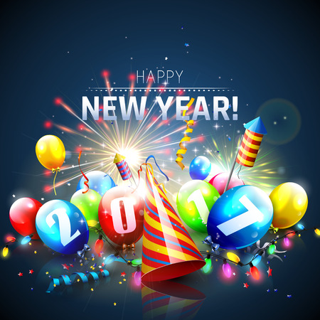 exploding: Happy New Year 2017 - Greeting card with colorful balloons,lights and fireworks on blue background