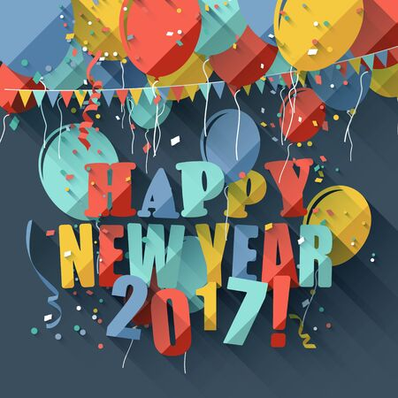new year greeting: Happy New Year 2017 - modern greeting card in flat design style Illustration