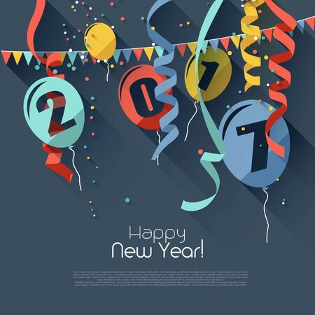 sylvester: Happy New Year 2017 - modern greeting card in flat design style Illustration