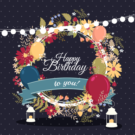 Beautiful birthday greeting card with colorful balloons and flowers