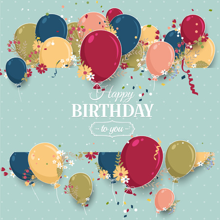 celebrate: Beautiful birthday greeting card with colorful balloons and flowers