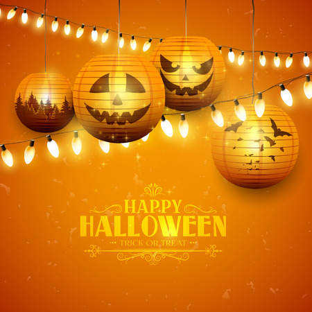 Halloween greeting card with paper lanterns and lights on orange background Illustration