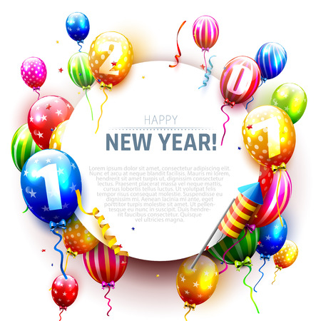 sylvester: Happy New Year 2017 - greeting card with colorful balloons, fireworks and rockets on white background