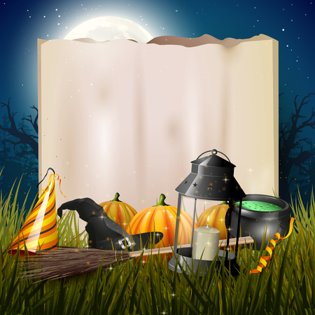 gloomy: Old lantern and pumpkins in the grass in front of old paper in gloomy forest - Halloween background