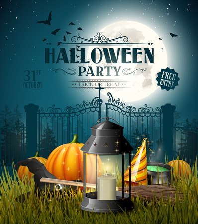 gloomy: Old lantern and pumpkins in the grass in front of gloomy landscape - Halloween greeting card
