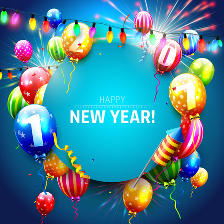 Happy New Year 2017 - greeting card with colorful balloons, fireworks and rockets on blue background