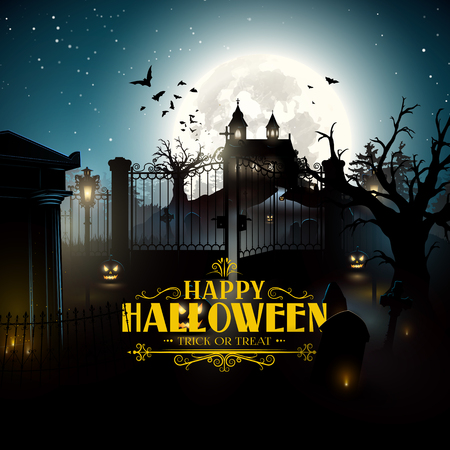 gates: Scary old graveyard and church in the woods - Halloween background Illustration