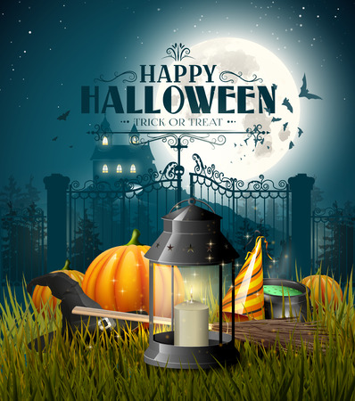 Old lantern and pumpkins in the grass in front of gloomy landscape - Halloween greeting card