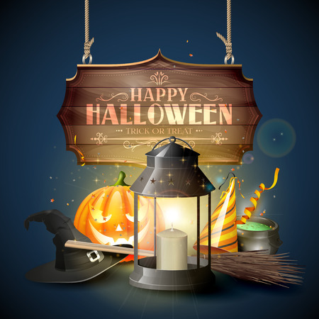 wooden hat: Happy Halloween greeting card with black lantern, old hat, pumpkin, broom and wooden sign on blue background