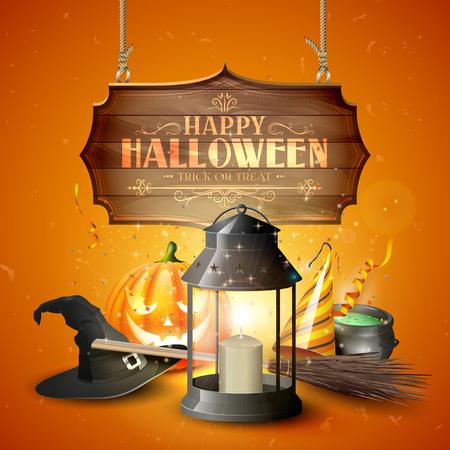 sign orange: Happy Halloween greeting card with black lantern, old hat, pumpkin, broom and wooden sign on orange background Illustration
