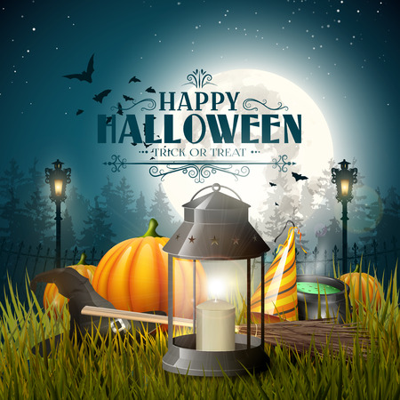 Old lantern and pumpkins in the grass in front of gloomy forest - Halloween greeting card Illustration