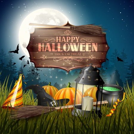 gloomy: Old lantern and pumpkins in the grass in front of gloomy forest- Halloween greeting card