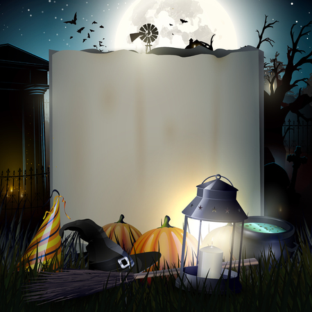 Halloween gloomy background with empty paper for your text