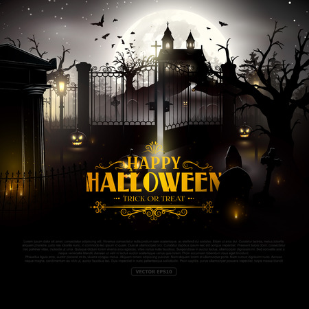 Scary old graveyard and church in the woods - Halloween background Ilustração Vetorial