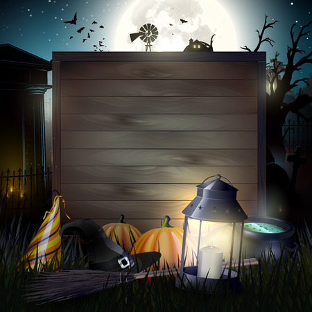 Halloween gloomy background with empty wooden sign for your text Illustration