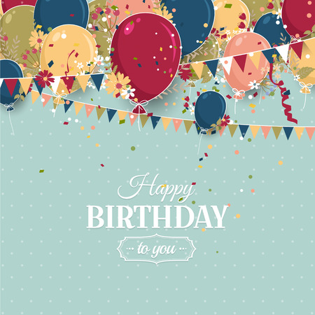 celebra: Beautiful birthday greeting card with colorful balloons and flowers