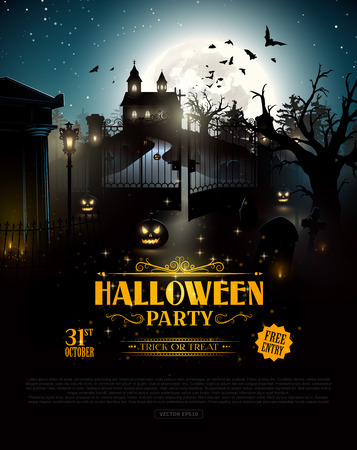 old church: Scary old graveyard and church in the woods - Halloween party poster Illustration