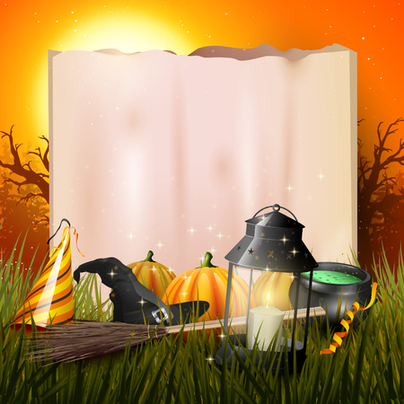 Old lantern and pumpkins in the grass in front of gloomy forest at sunset - Halloween background