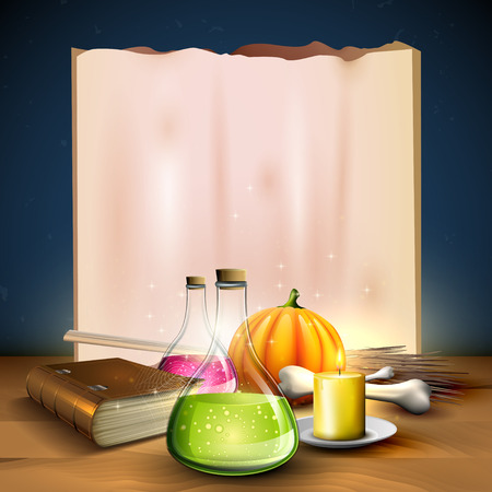 Halloween greeting card - Tubes with potions, old book,pumpkins and empty paper on blue background Illustration