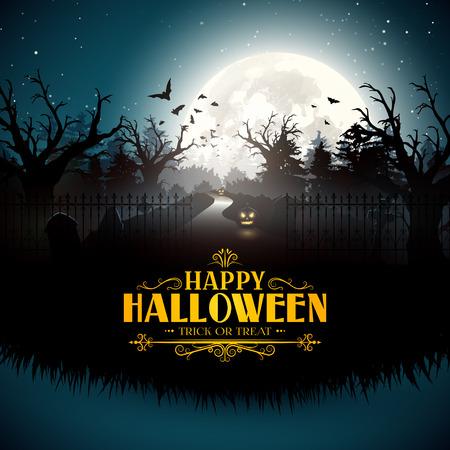gloomy: Scary pumpkins in gloomy woods - Halloween card Illustration