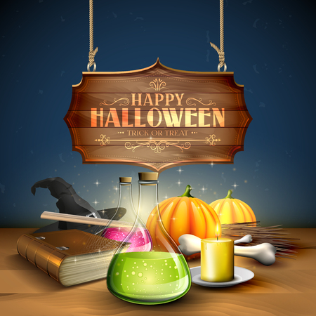 Halloween greeting card - Tubes with potions, old book,pumpkins and wooden sign on blue background Illustration