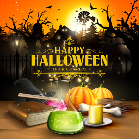 Halloween greeting card - Tubes with potions, old book, lantern and wooden sign in front of scary farmhouse and graveyard